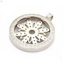 Special zircon coin locket pendants,magnet coin pendants with flower plate