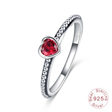Anel de prata antigo do vintage coração amor mulheres anel (sri0024-b)