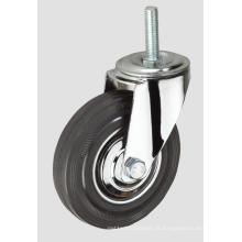 Roulette industrielle en fil de caoutchouc noir de 3 pouces sans frein