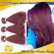 Weave reto brasileiro por atacado do cabelo da cor 99j das extensões do cabelo humano do Virgin