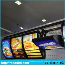 Caja de luz de doble cara de menú de comida rápida