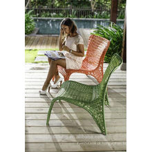 Hot Sale Outdoor All Weather Alumínio Frame Colorful Rattan Bucket Chairs