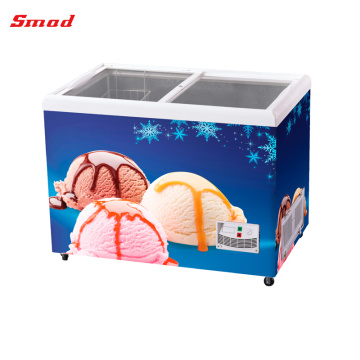 flat glass door showcase freezer commercial ice cream freezers