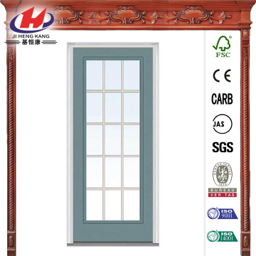 Clear Glass GBG Full Lite Painted Steel Prehung Front Door