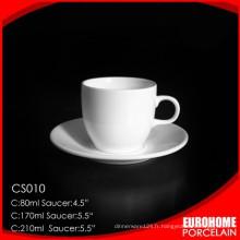 vente directe d'usine fine soucoupe et une tasse en céramique blanche superbe