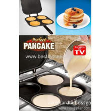 Perfect Quick 4 Four Holes Cups / Circles / Rounds Carbon Steel Fluffy Pancake Maker Pan As Seen On Tv