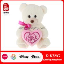 Presente de dia dos namorados rosa coração branco recheado de pelúcia macia brinquedo ursinho de pelúcia