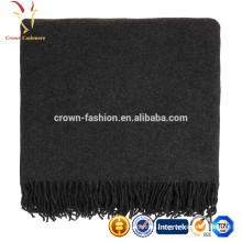 Thick knitted winter cashmere blankets with tassel wholesale