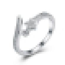 Damen 925 Sterling Silber eingelegten CZ Little Star Öffnungsring