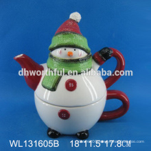 High quality ceramic teapot with Christmas snowman design