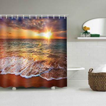 Onda do mar impermeável cortina de chuveiro praia do sol decoração do banheiro cortina de chuveiro com ganchos