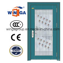 Decorative Security Steel Metal Temped Glass Door (W-GD-04)