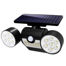 Luz de pared de seguridad de inundación con proyector de cabeza con energía solar