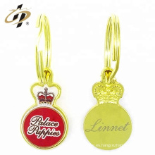 Personalice el llavero del logotipo del metal de epoxy del oro de la aleación del cinc
