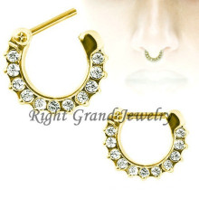 Gold Crystal Paved Septum Clicker Nose Septum Piercing