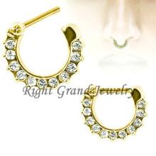Cristal dourado pavimentado septo clicker nariz septo piercing