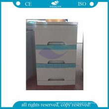 AG-BC001 CE ISO mobile hospital plastic medical bedside locker cabinet