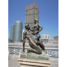 home decration metal nude man and woman custom bronze erotic sculpture