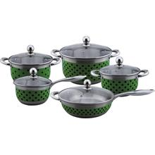 Cookware set with green dot painting