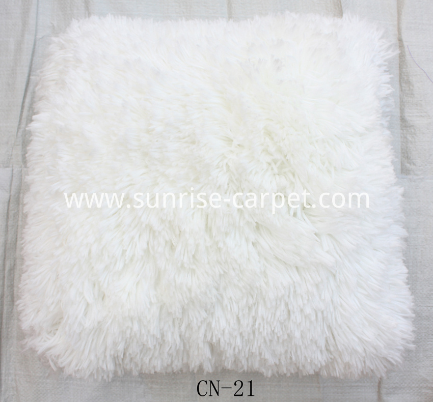 Polyester Shaggy Cushion White Color