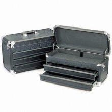 Aluminum Tool Case with Drawers and Diamond Pattern ABS Surface, Measuring 544 x 238 x 333mm