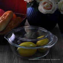 Grand bol à four en verre à haute teneur en borosilicate avec couvercle