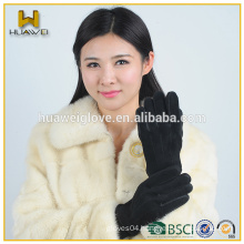 High Quality Warm Black Women Pig Suede Gloves with knitted Clips between the fingers (Factory Directly)