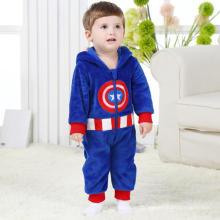 Vêtements pour bébés, 100% Polyester en forme de molleton Romper / Captain America
