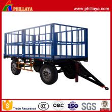 Remorque agricole de transport de coton à quatre roues de 2 axes
