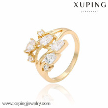 13450- China Großhandel Modeschmuck Gold Frauen 18K Gold Blume Ring