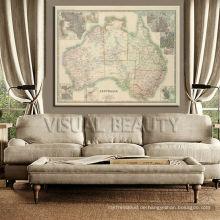 Australien-Weinlese-Karten-Segeltuch-Wand-Kunst