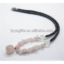 Rose Quartz chip Necklace with rose quartz tumbled stone pendant