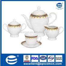 15pcs cerâmica pote de chá conjunto com bacia de açúcar e pires copo de chá