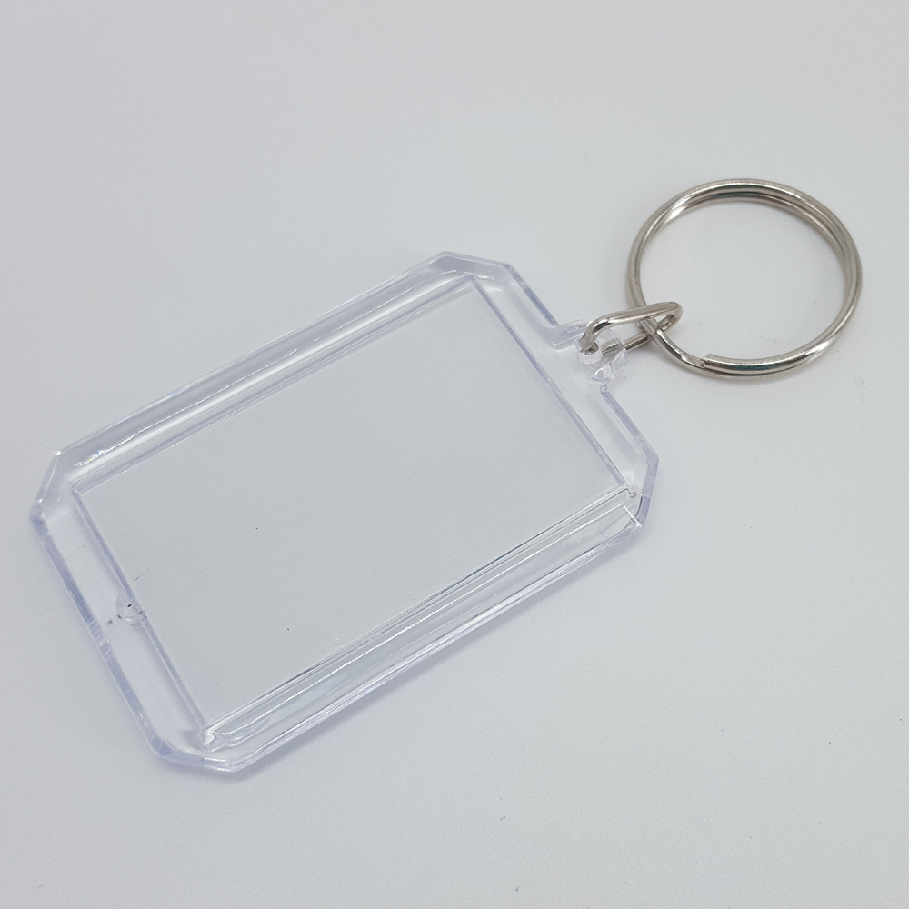 Square Clear Acrylic Plastic Photo Frame Holder Keychain