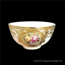 Wholesale china supplier bowl ceramic custom printed ceramic bowl cheap rice Gold Inlay porcelain bowl