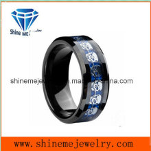 Tungsten Blue Tungsten Carbide Carbon Fiber Insert Silver Skeleton Male Ring