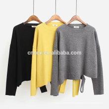 PK17ST431 cuello redondo último diseño pendiente dividir pullover suéter de mujer de cachemira