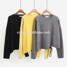 PK17ST431 round neck latest design slope split bottom pullover cashmere woman sweater