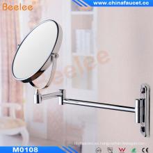 Espejo de metal giratorio montado en la pared de doble cara redonda de baño