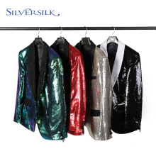 Veste à paillettes réversibles à col châle pour adultes, manteaux pour hommes