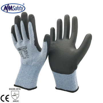 NMSAFETY Cut resistant level 5 HPPE liner coated PU safety glove