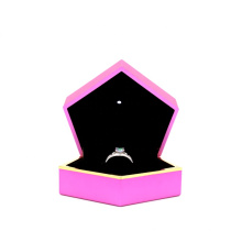 Custom logo printed jewelry boxes exquisite pink proposal engagement ring box boxes for jewelry packing