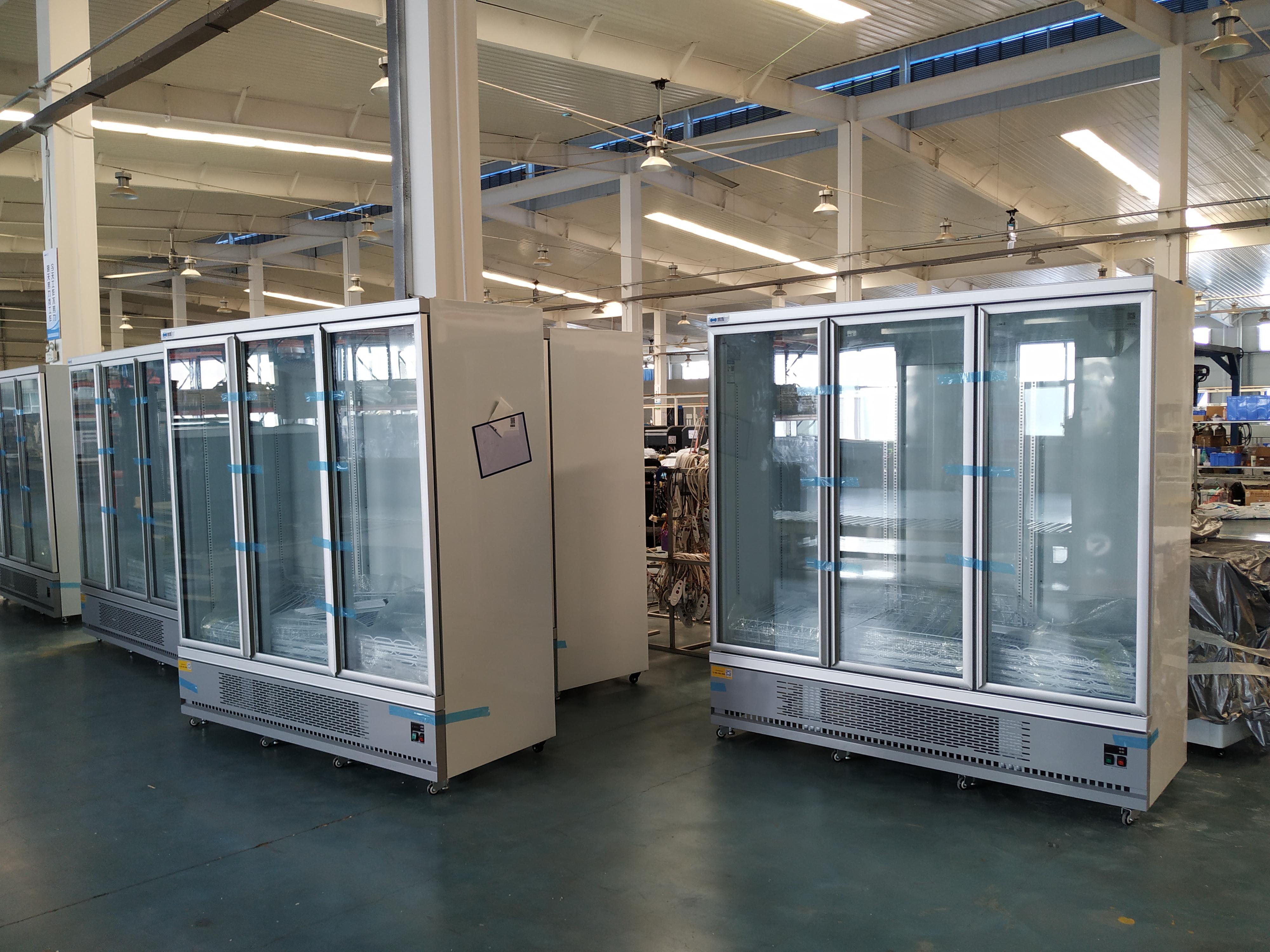 upright glass door fridge
