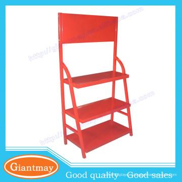tienda de venta al por menor color rojo lubricantes suelo de metal soporte de visualización de aceite