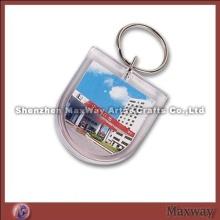 Handsome transparent polished promotion acrylic/plexiglass keychain/key ring/key holder with your pi