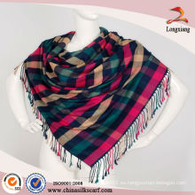 Teal elegante reversible Plaid Pashmina Shawl Wrap