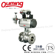 2PC Stainless Steel Flanged Ball Valve with Pneumatic Actuator