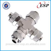 raccord pneumatique en métal pour le type transversal d'union de tube en plastique