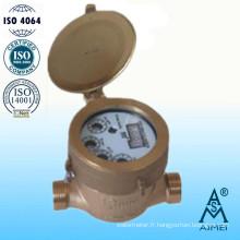 Compteur d'eau froide de Jet unique Type semi-sec laiton