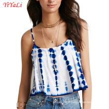 Mode d'été femmes fille vêtements bleu blanc débardeur